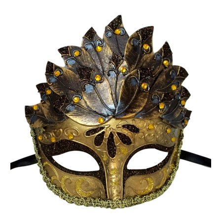 Brown Gold Leaf Cascade Mask Masquerade Prom Halloween