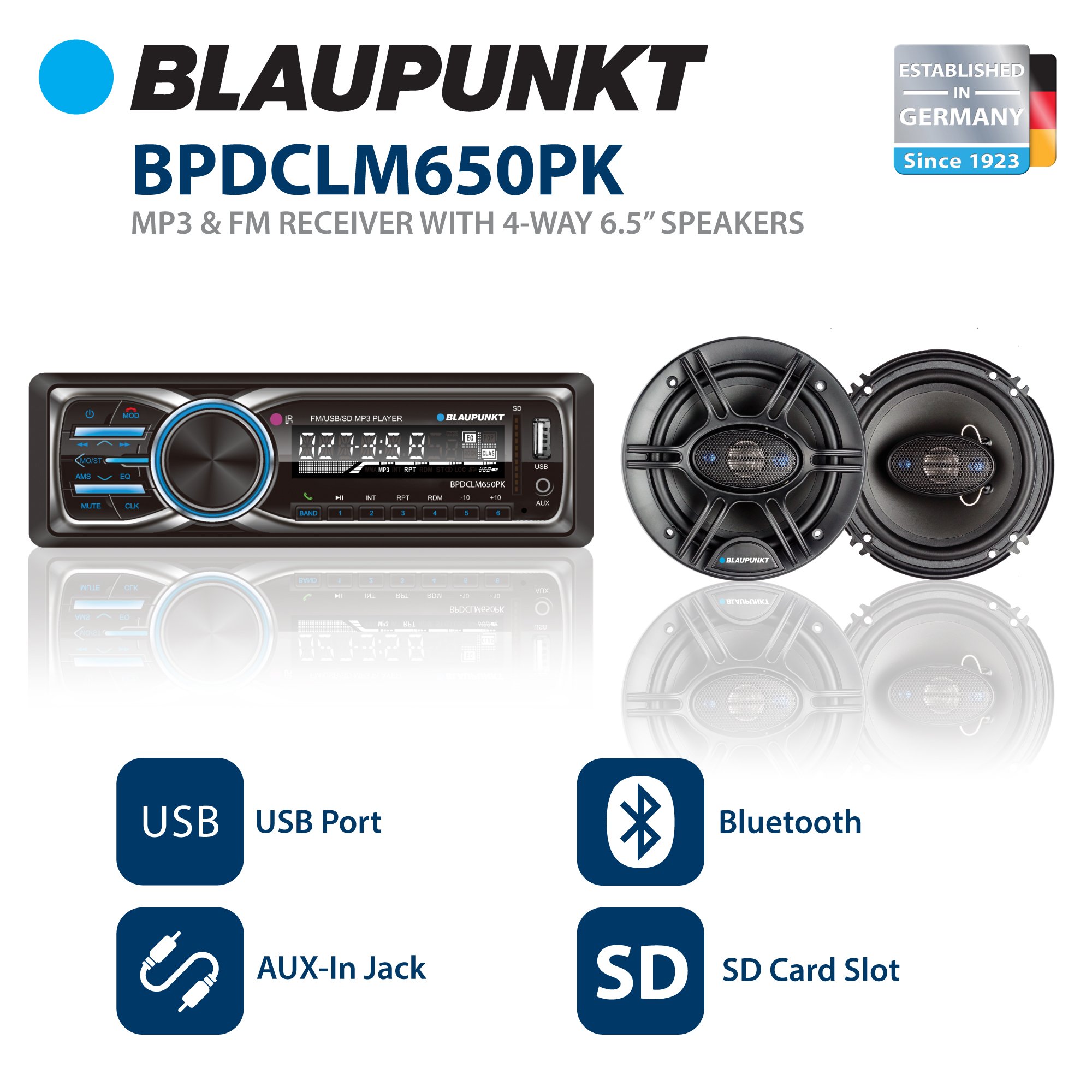 Blaupunkt Columbus100 Stereo Receiver + GTX650 Coaxial Speakers Bundle