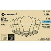 EcoSmart 60-Watt Equivalent A19 Non-Dimmable CEC LED Light Bulb Daylight (8-Pack)