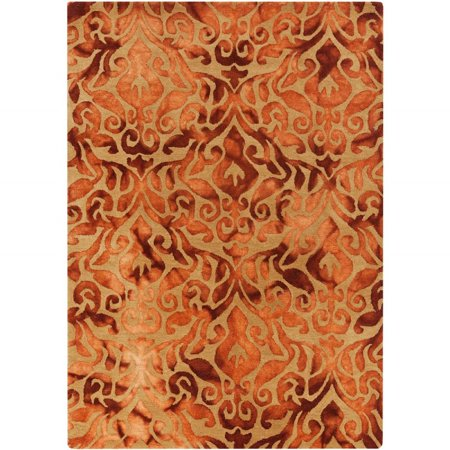 Contemporary Belladonna Collection Area Rug In Burnt Orange And Oval Rectangle Round Runner Shape