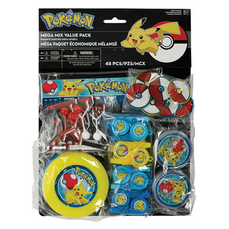 Pokemon 'Sun and Moon' Favor Pack (48pc) - Pokemon Party Supplies Walmart