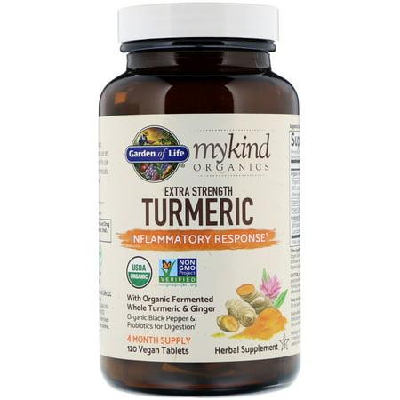 Garden of Life  MyKind Organics  Extra Strength Turmeric  Inflammatory Response  120 Vegan Tablets (Live Extra)
