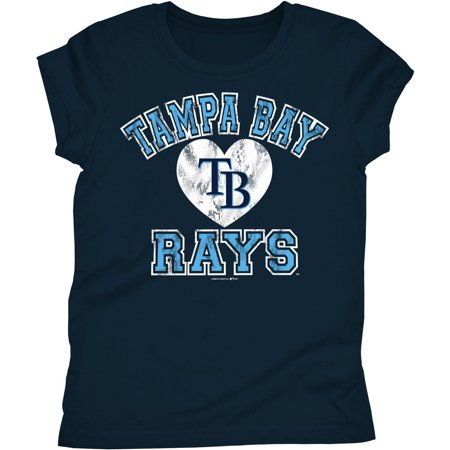 MLB Tampa Bay Rays Girls Short Sleeve Team Color Graphic Tee - Tampabay Rays