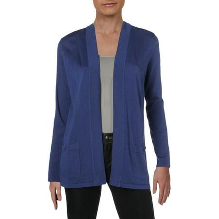 Anne Klein Womens Knit Long Sleeves Cardigan Sweater Indigo Long Sleeve Sweater