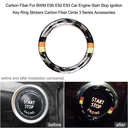 E90 Carbon Fiber - Carbon Fiber Key Ring Sticker For BWM E90 E92 E93 Car Engine Start Stop Ignition Key Ring Stickers Carbon Fiber Circle 3 Series Accessories
