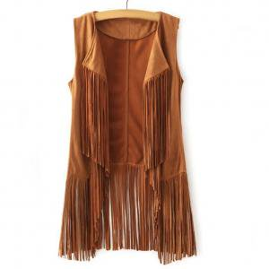 - KABOER Ladies' and Women's Deerskin Fringe Vest Open-Front Sleeveless Vest Cardigan Female