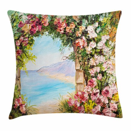 Art Throw Pillow Cushion Cover, Old Antique Arch Covered by Rose Petals Branches Romantic Italian Panorama Sea Print, Decorative Square Accent Pillow Case, 18 X 18 Inches, Multicolor, by Ambesonne