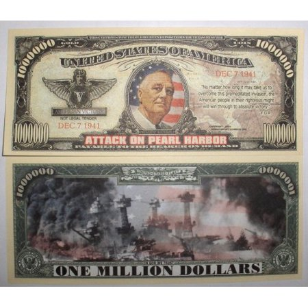 Set of 10 Bills-Pearl Harbor Million Dollar Bill, By Novelties Wholesale - Festival Toys Wholesale
