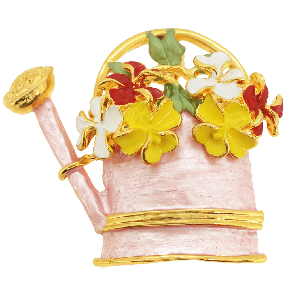 Pink Watering Can Pin Brooch by