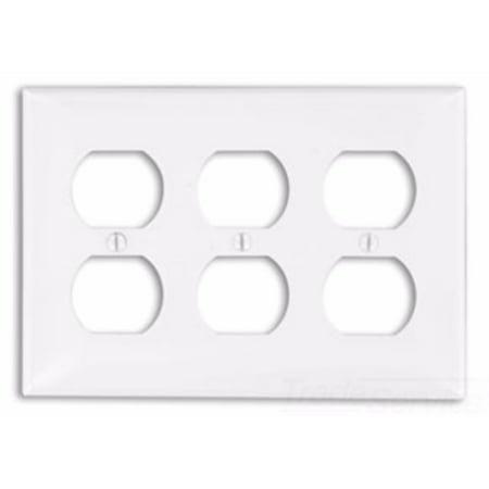 - Leviton 80730-I 3-Gang Duplex Device Receptacle Wallplate, Thermoplastic Nylon, Device Mount, Ivory