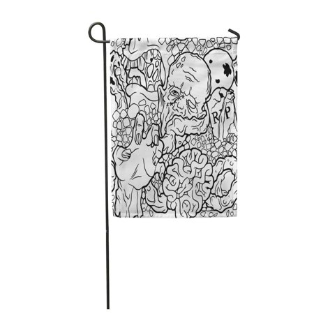 SIDONKU Coloring Color Halloween Pattern with Zombie Stuff Black and White Vampire Claw Garden Flag Decorative Flag House Banner 12x18 inch](Claw Kicker Halloween)