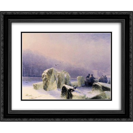 Ivan Aivazovsky 2x Matted 24x20 Black Ornate Framed Art Print 'Ice Breakers on the Frozen Neva in St. Petersburg' - Halloween Party Ice Breakers For Adults