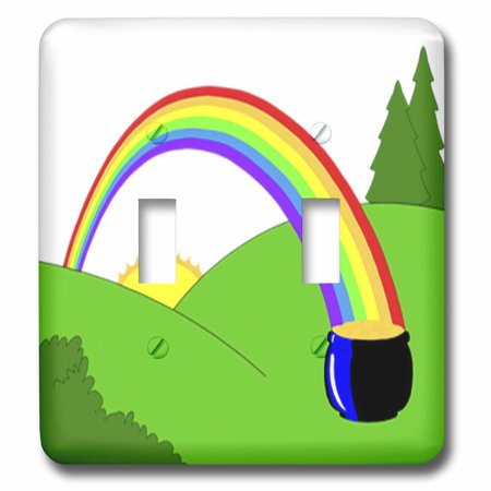 3dRose Colorful Rainbow n Pot Of Gold - Double Toggle Switch (lsp_43697_2) - Rainbow Pot Of Gold