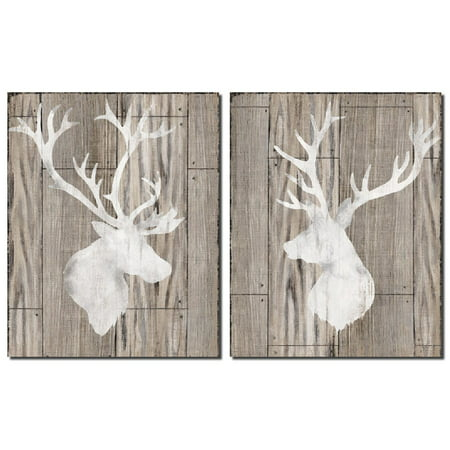 Beautiful Contemporary Deer and Elk Silhouettes; Lodge Decor; Two 11x14in Prints (Printed on Paper, Not Wood)