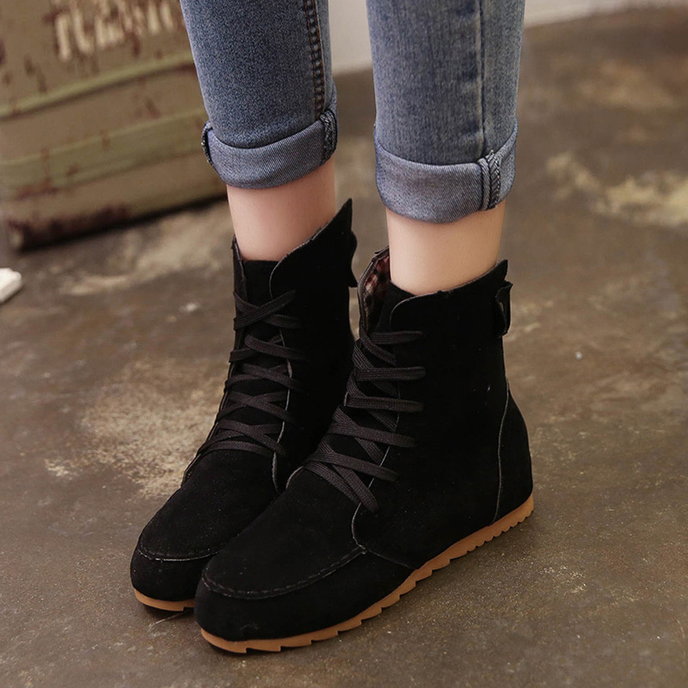 DZT1968 Women Flat Ankle Snow Motorcycle Boots Female Suede Leather Lace-Up Boot