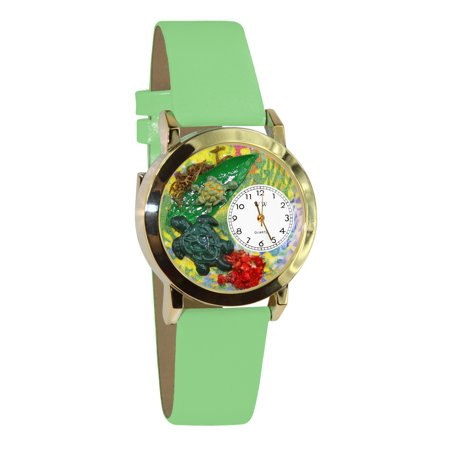 Whimsical Watches Kids C0140004 Classic Gold Turtles Light Green Leather And Goldtone Watch