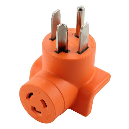 AC WORKS [AD1430L620] Dryer Outlet Adapter NEMA 14-30P 30Amp Dryer plug to L6-20R 20Amp 250Volt Locking Female Connector - 240v 1 Output Connector