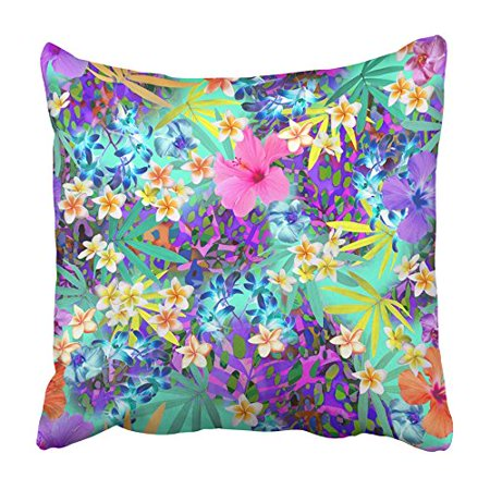 BSDHOME Blue Tropics Tropical Flowers with Animal Spots Pink Floral Neon Skin Hawaiian Pillowcase Cushion Cover 20x20 inch - image 1 of 1