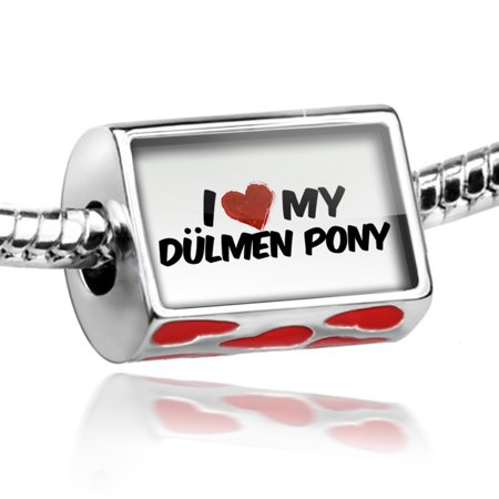 Bead I Love my Dülmen Pony, Horse Charm Fits All European - Pony Bead Bracelets