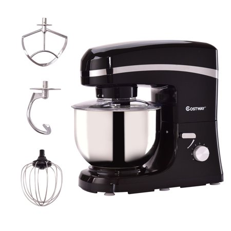 Goplus 6 Speed 5.3Qt 800 W Electric Food Stand Mixer Tilt-Head Stainless Steel Bowl Black