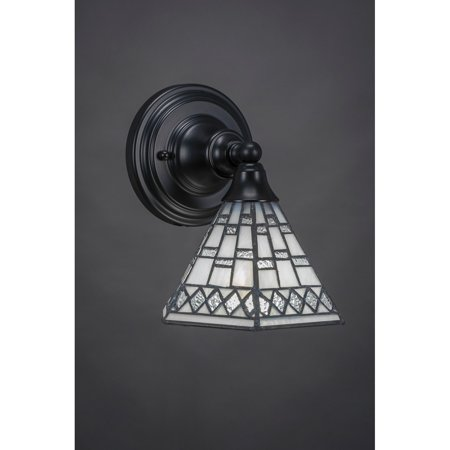 Toltec 1-light Matte Black Finish Steel Wall Sconce with Tiffany Glass Shade