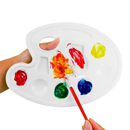 Es Acrylic Colour (White Plastic Artist Paint Palettes Color Tray Cavity Non-Stick Trays Multi Slot w/ Thumb Hole Grip for Watercolor, Acrylic, Oil Paints (4 Pack, 8.5
