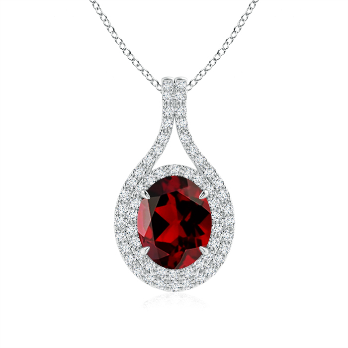 January Birthstone Pendant Necklaces Oval Garnet Double Halo Pendant Necklace in 950 Platinum (9x7mm Garnet)... by Angara.com