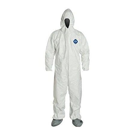 dupont ty122s-xl-each disposable elastic wrist, bootie and hood tyvek coverall suit 1414, x-large, white ()