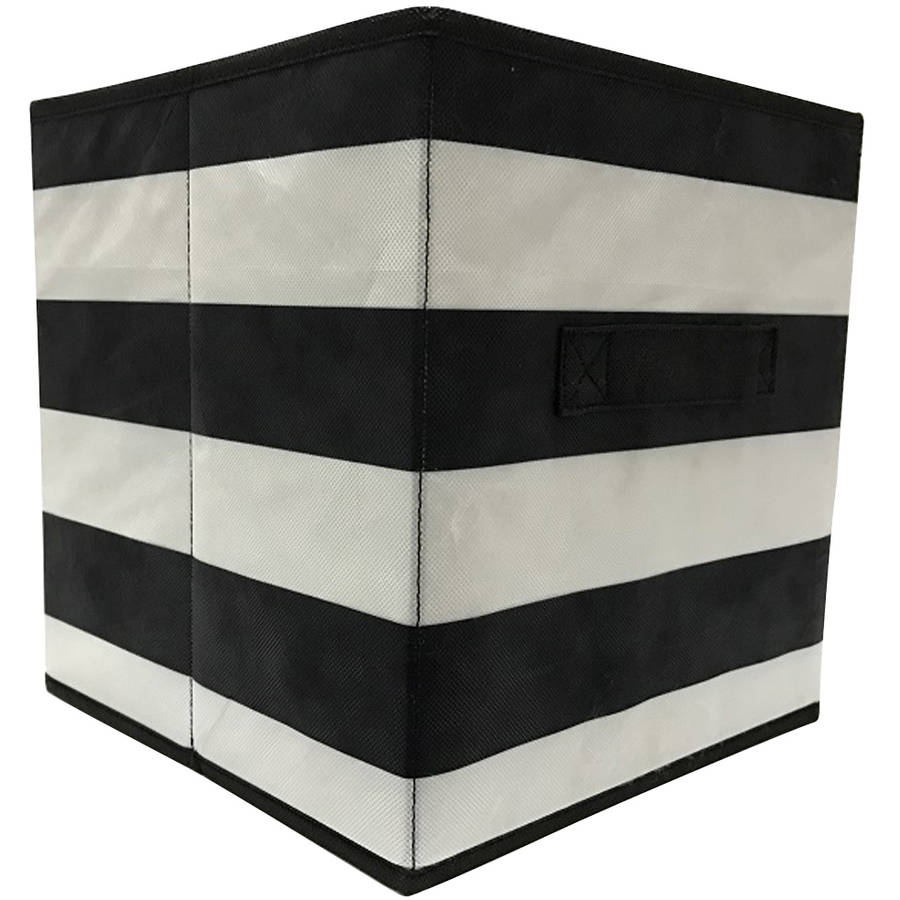 Mainstays Collapsible Fabric Storage Cube, Black, Stripe Pattern