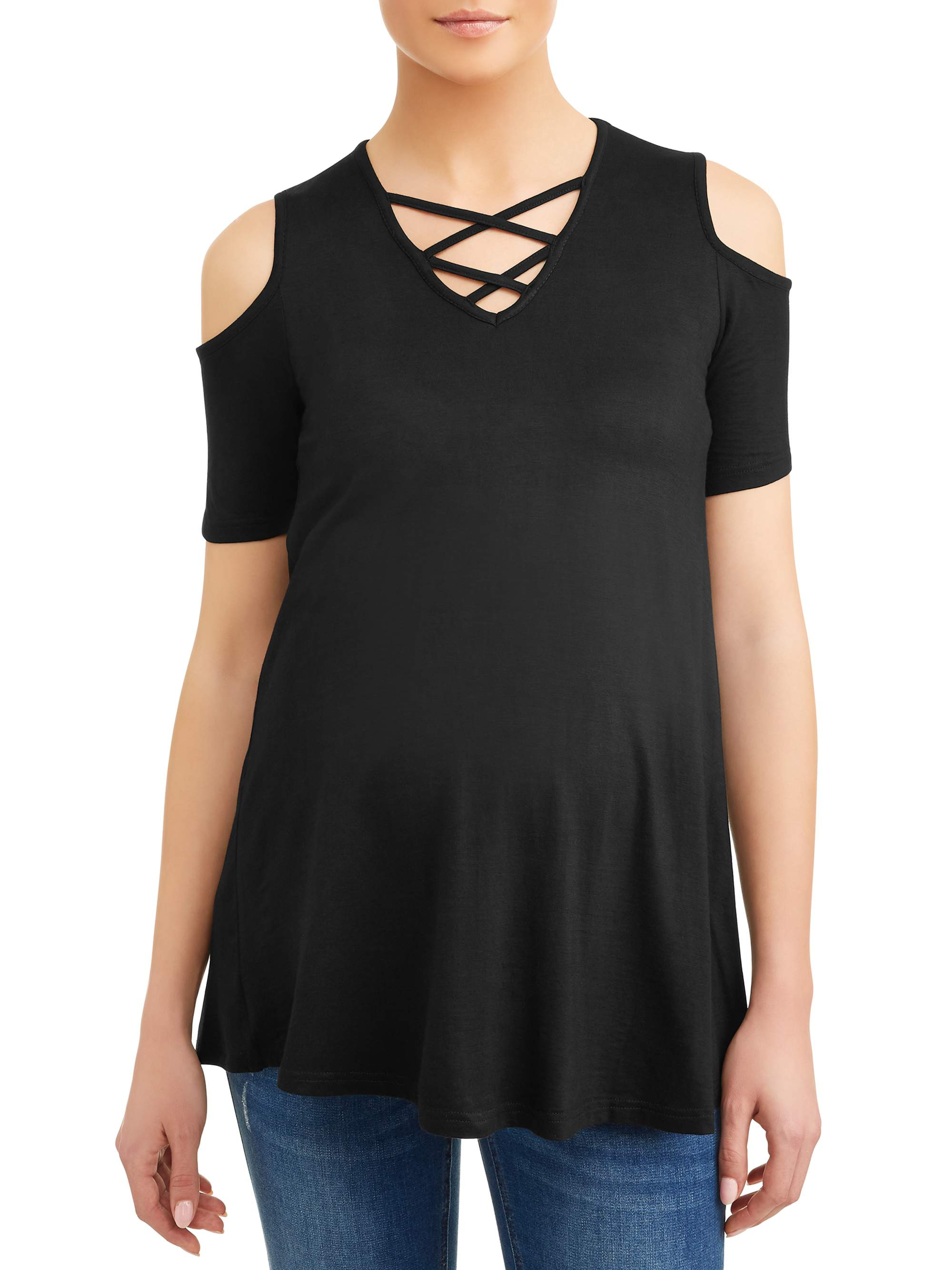 Maternity Cold Shoulder Top - Available in Plus Sizes