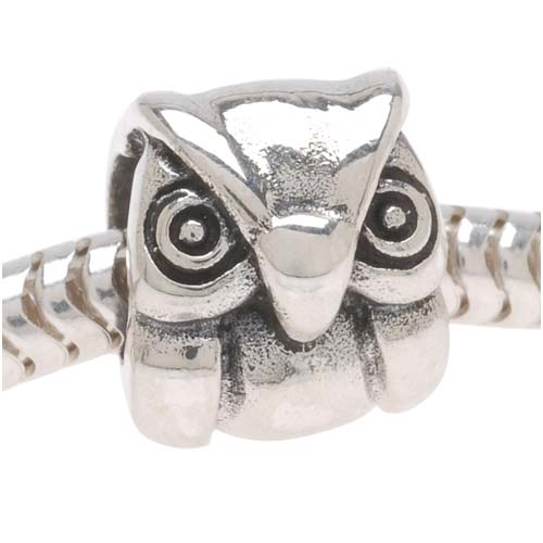 Antiqued Sterling Silver Owl Shaped Bead - European Style Large Hole 9.5mm (1)