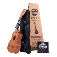 Official Kala Learn to Play Ukulele Soprano Starter Kit, Satin Mahogany - Includes online lessons, tuner app, and booklet