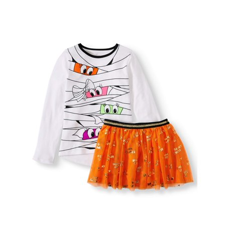 Trashy Halloween Outfits (Halloween Graphic Long Sleeve Top & Tutu Skirt, 2-Piece Outfit Set (Little Girls, Big Girls & Girls)