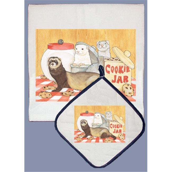 Pipsqueak Productions DP950 Ferret Dish Towel And Pot Holder Set