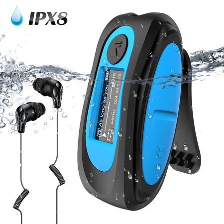 AGPTEK Waterproof MP3 Player with Screen,Swimming with Rotatable Clip, IPX8 Headphones for Running Water Sports Waterproof Mp3 Watch