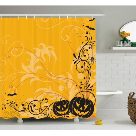 Halloween Decorations Shower Curtain, Carved Pumpkins with Floral Patterns Bats and Webs Horror Artwork, Fabric Bathroom Set with Hooks, 69W X 75L Inches Long, Orange Black, by Ambesonne - Good Halloween Pumpkin Carvings