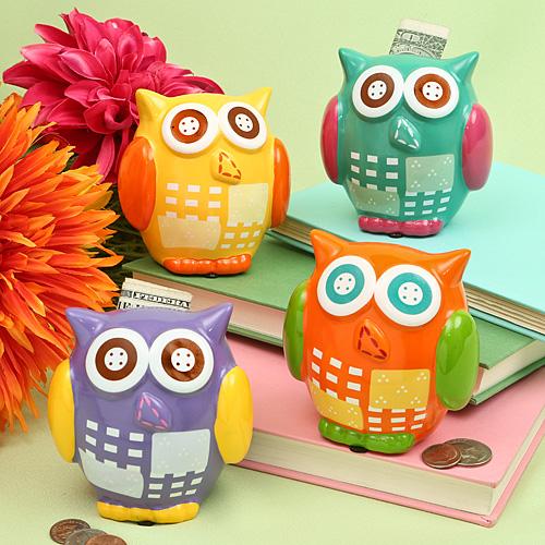 FashionCraft Owl Design Bank: Four Assorted Colors
