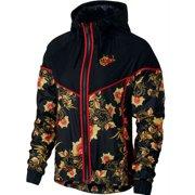 Nike Womens Sportswear Floral Print Windrunner Jacket Navy/Black New (Black,M)