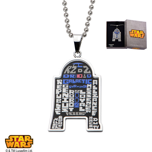 """Disney Stainless Steel Star Wars R2D2 Etched Wordings Pendant, 22"""""""