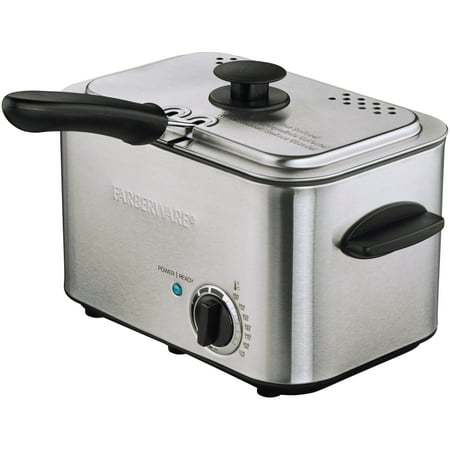 Farberware 1.1 Liter Stainless Steel Deep Fryer with Dishwasher-Safe Basket, Lid &