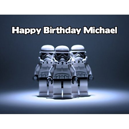 Lego Star Wars Stormtrooper Image Photo Cake Topper Sheet Personalized Custom Customized Birthday Party - 1/4 Sheet - 77809