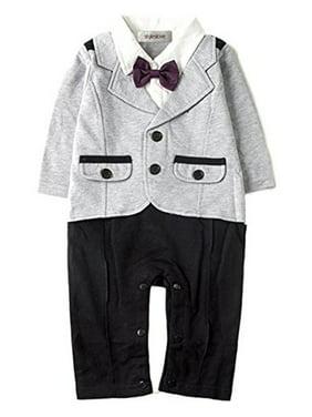 ba0109ce2e7d Product Image StylesILove Baby Boy Bowtie Tuxedo Romper (6-12 Months, Grey)