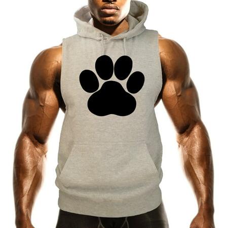Fleece Print Vest - Men's Paw Print kitten Dog V304 Gray Fleece Vest Hoodie 3X-Large Gray