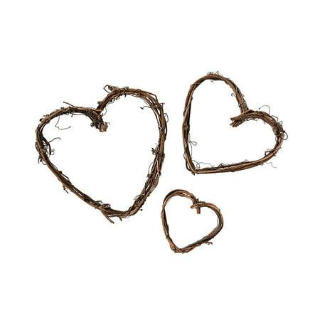 Fun Express - Grapevine Mini Assorted Hearts for Wedding - Craft Supplies - Bulk Craft Accessories - Floral - Wedding - 15 Pieces Grapevine Mini Assorted Hearts for Wedding - Craft Supplies - Bulk Craft Accessories - Floral - Wedding - 15 Pieces