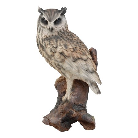 - Ebros Realistic Nature Wildlife Eurasian Eagle Owl Perching On Tree Statue 14.25