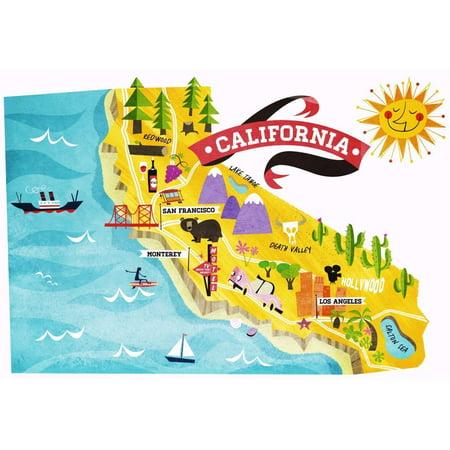 Cool Mazes (Laminated Poster Cool Fun California State Map Tourism La Poster Print 24 x)