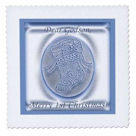 Rose Stocking - 3dRose Blue Stocking 1st Christmas to Godson - Quilt Square, 10 by 10-inch