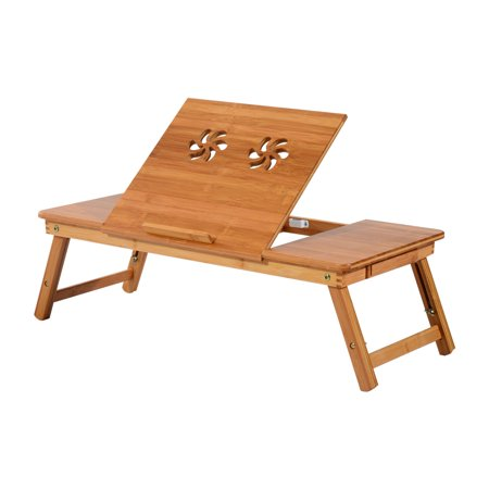 Homcom Adjule Bamboo Laptop Tray With Drawer