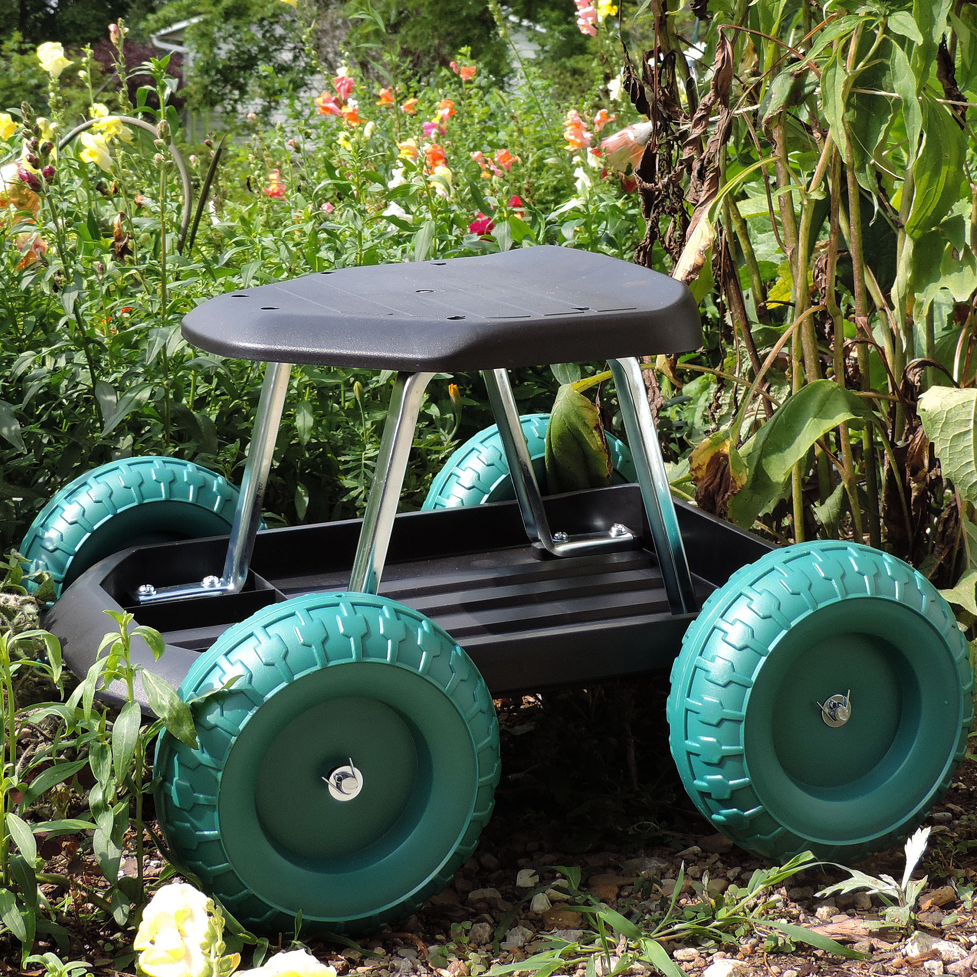 Image of Pure Garden Rolling Garden Work Scooter with Tool Tray