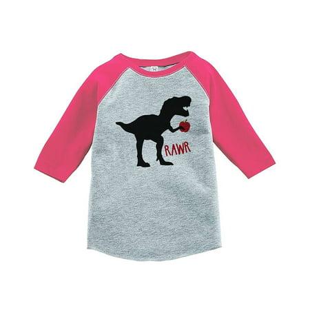Custom Party Shop Girls Dinosaur School Pink Baseball Tee - 2T for $<!---->